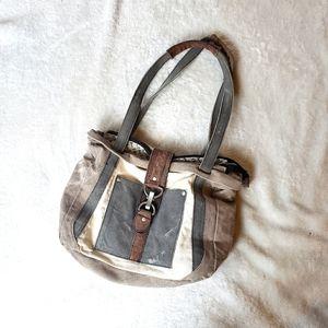 Mona B purse distressed gray white leather.
